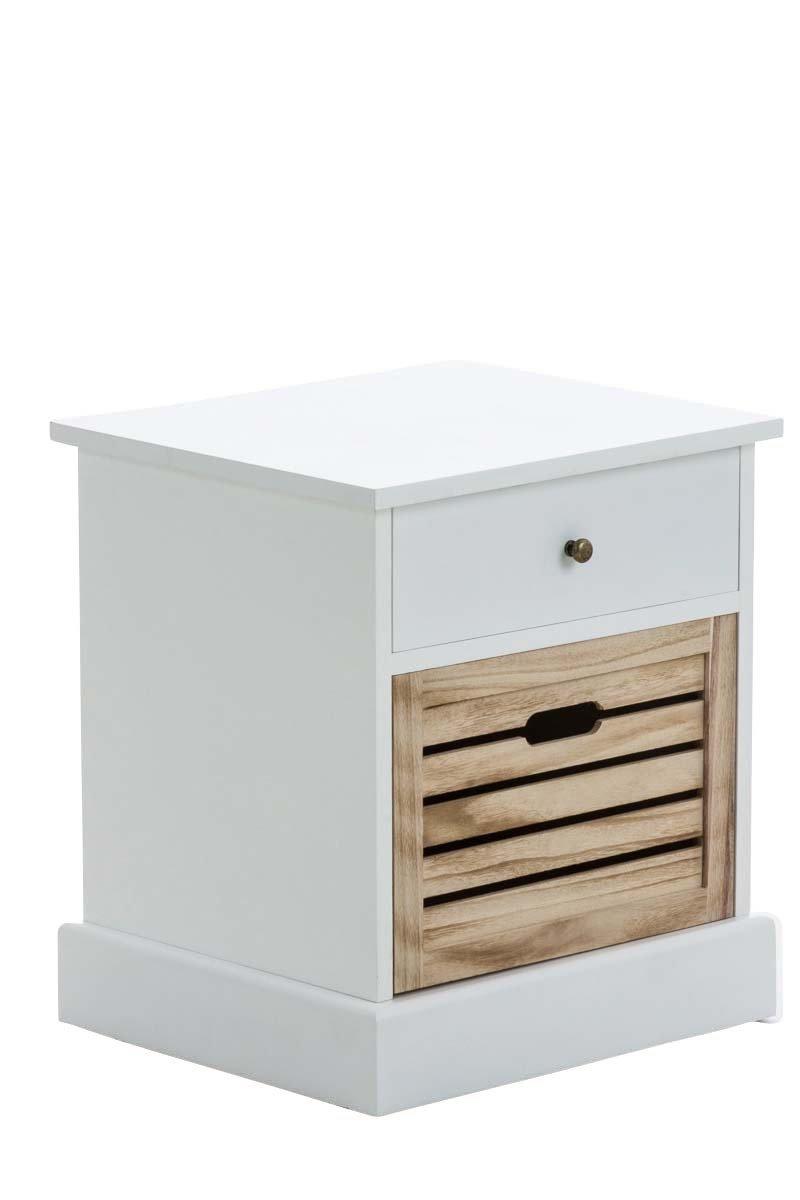 CLP Nachttisch HILPA aus Paulownia-Holz I Weiß lackierte Kommode im Landhausstil I Schränkchen mit Zwei Schubladen Weiß
