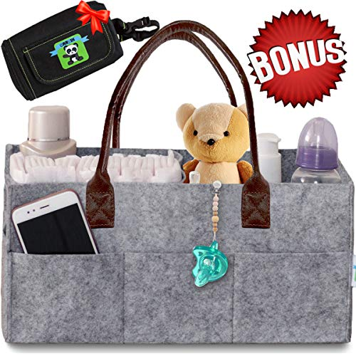 Delta Mats Car - Baby Diaper Caddy Organizer – Nursery Basket with Convenient Leather Handles Makes Perfect Baby Shower Gift – Durable, Portable Changing Table Diaper Storage + Bonus Insulated Wipe Carrier by Cartik