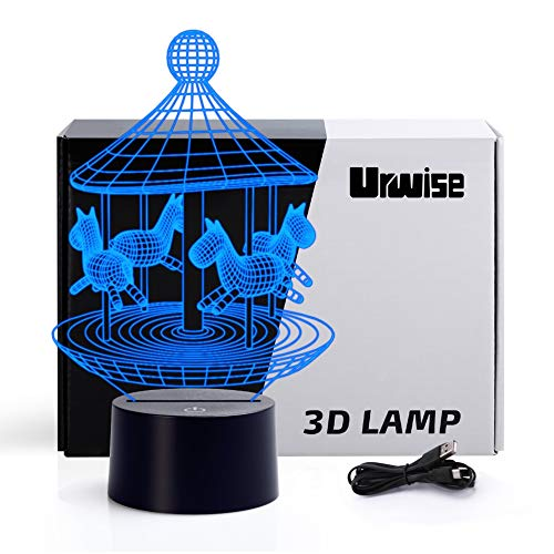 Carousel 3D optical illusion night lights, seven color variations, smart touch button USB and battery power, amazing creative art design for children's Christmas gifts