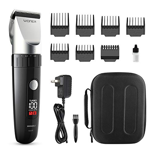 WONER Hair Clippers,Cordless Hair Trimmers,Beard Trimmers with Intelligent LED Display,13-piece Hair Cutting Kit for Men Waterproof