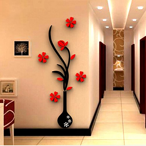 Foerteng DIY Vase Flower Tree Wall Decals Crystal Arcylic Creative 3D Wall Stickers Cling Bedroom Home Decor (Crystal Flower Decor Wall)