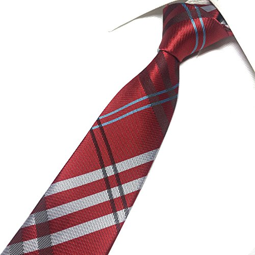 Mens Deep Red White Woven Silk Ties Regular Soft Business Work Big Boys Necktie