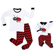 Elowel Ladybug Matching Girl & Doll 2 Piece Pajamas 100% Cotton (2-10 Years)