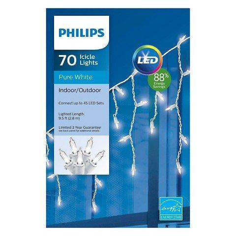 Philips 70ct Pure White LED Mini Icicle Lights