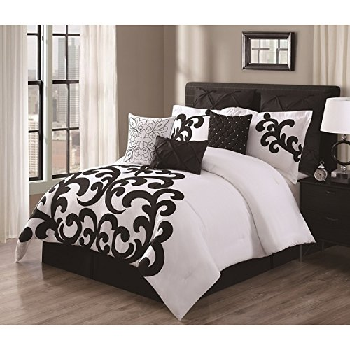 9 Piece Elegant Girls King Comforter Set With 3 Accent Pillows,Crisp White and Black Applique Scroll Work Design,Hand Sewn Mother-of-Pearl Accents,Chic,Modern,Beautiful,Stunning and Luxurious Look Modern White Mother Of Pearl