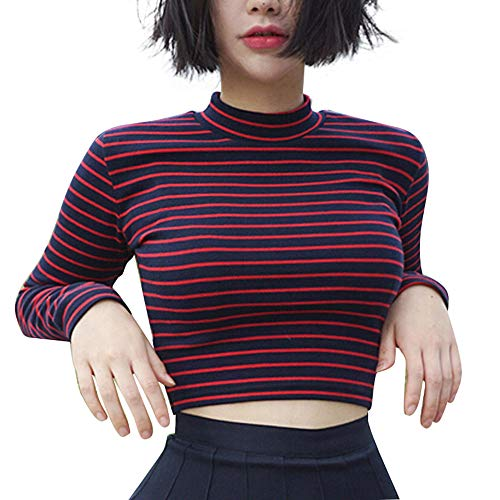 Bestag Classic Stripe Slim Short Bustier Turtleneck Crop Top Long Sleeve T-Shirt for Girl (Red)