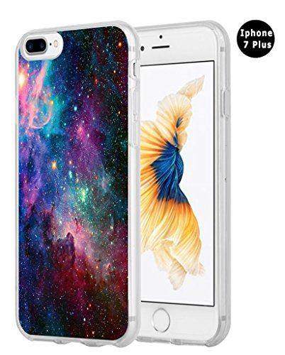 Case For Iphone 8 Plus,Case For Iphone 7 Plus,Hungo Compatible Tpu Silicone Protective Cover Replacement For Iphone 7 Plus/8 Plus Shiny Beautiful Space Galaxy View