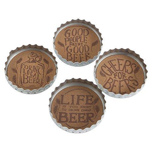 Case Set Coaster Metal - TRADE ASSOCIATE GROUP Bottle Cap Beer Coaster Set/4, 1 EA