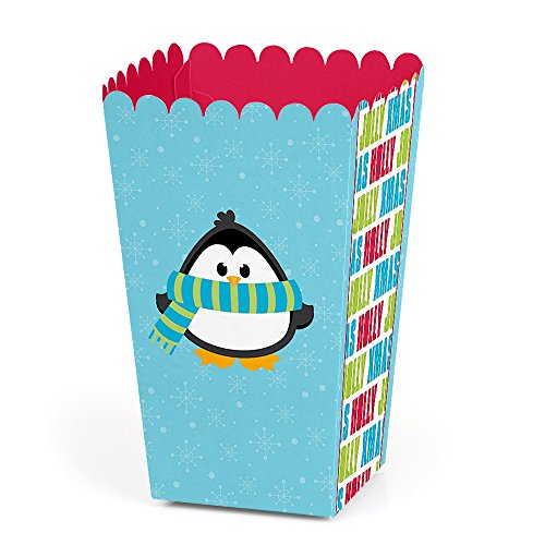 Holly Jolly Penguin - Holiday Favor Popcorn Treat Boxes - Set of 12