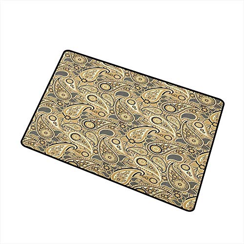 (Sillgt Earth Tones Washable Doormat Iranian Pattern Based on Traditional Asian Paisley Welsh Pears Rustic Home Decor 20
