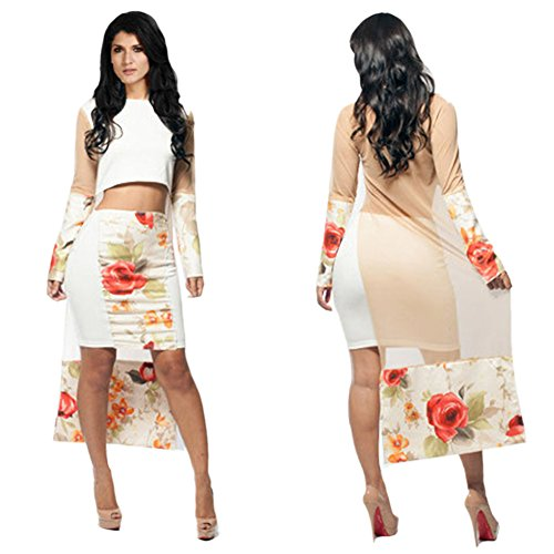 AngelClothing Women Hot Long Sleeve Flower Shirt & Skirt Pub Party Set Two S White