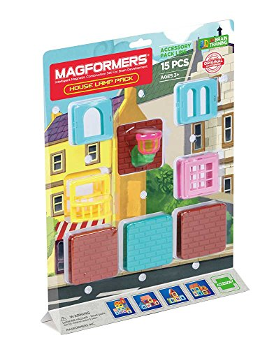 Magformers House Lamp 15 Pieces Accessory, Blue, Educational Building STEM Toy Set Ages 3+