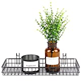 ANZOME Black Mesh Wall Metal Wire Basket, Grid Panel Hanging Tray, Wall Mount Organizer, Wire Storage Shelf Rack for Home Supplies, Wall Decor Size 15.7'' x 3.9'' x 1.9''/40 x 10 x 5cm