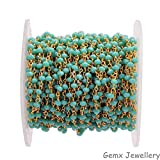 Gems-World Jewelry Awesome Amazonite Gemstone 3-4 mm Rondelle Beads, Gold Plated Wire Wrapped Rosary Chain, Necklace Link Chain. (HRCG-09)
