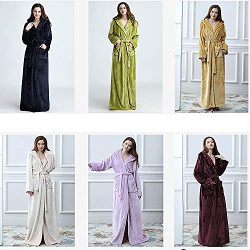 Albornoz Pijama Co E V1 Solapa White El Bata Manga Otoño Invierno Hogar Capucha De Encaje Larga Con Pijamas Para Off Clothing Cálido Franela Zwqaf