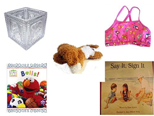 Children's Gift Bundle - Ages 0-2 [5 Piece] - B-A-B-Y Block Container Heavy Glass - Circo Infant Girls Swim Bikini Top Pink Butterfly Size XL 24 Months 25-30 lbs - Amazimals Brown & White Puppy - El by Secure-Order-Marketplace Gift Bundles