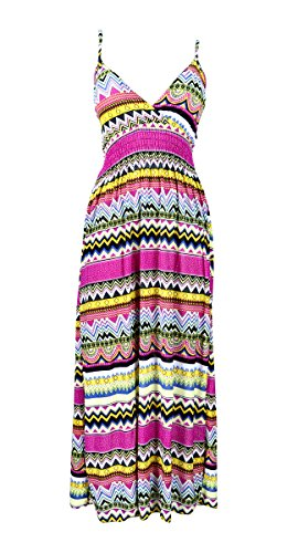 - Belle Donne Women Strap Dress Bright Colorful Zig Zag Print Dress -Pink -XL