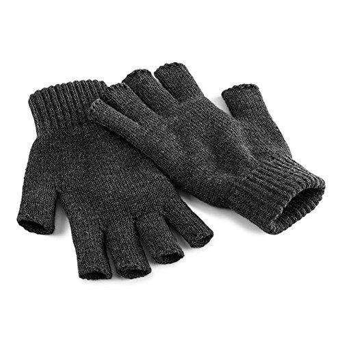 Beechfield Unisex Plain Basic Fingerless Winter Gloves (L/XL) (Charcoal)