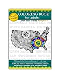 Volume 17 - USA state maps adult coloring book, stress relieving patterns for all, spiral bound Patriotic coloring gifts