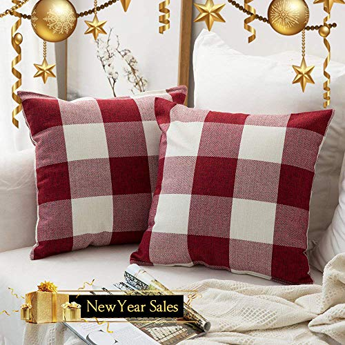 MIULEE Pack of 2 Decoration Classic Retro Checkers Plaids Cotton Linen Soft Soild Square Throw Pillow Covers Home Decor Design Cushion Case for Sofa Bedroom Car 20 x 20 Inch 50 x 50 cm