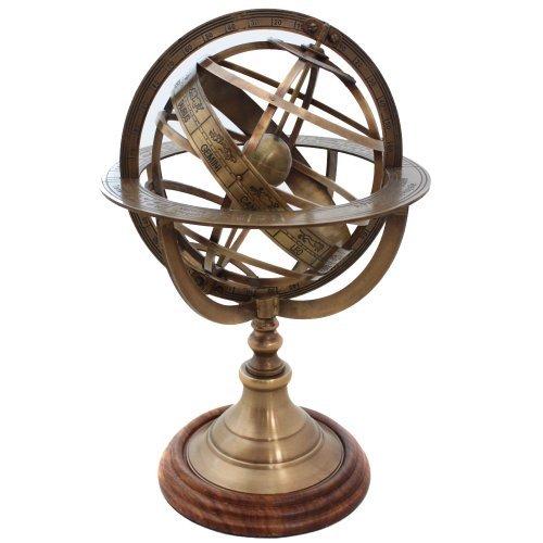 EcWorld Enterprises 7764323 Engraved Brass Tabletop Armillary Nautical Sphere Globe ()