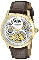 St++hrling Original Mens Gold Tone Stainless Steel Automatic Watch, White Skeleton Dial, Yellow Gold Accents, Dual Time, AM/PM Sun Moon, Brown Leather Band, 571 Series