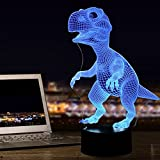 Tiscen Dinosaur 3D Night Light Touch Table Desk Lamp, 7 Colors 3D Optical Illusion Lights with Acrylic Flat & ABS Base & USB Charger for Kids Christmas Gifts