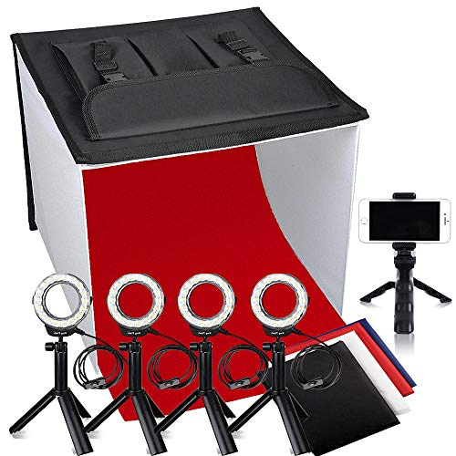 (Photo Studio Box, FOSITAN 24x24 inches Table Top Photo Light Box Continous Lighting Kit with 5 Tripods, 4 LED Ring Lights, 4 Color Backdrops & a Cell Phone Holder for Photography)