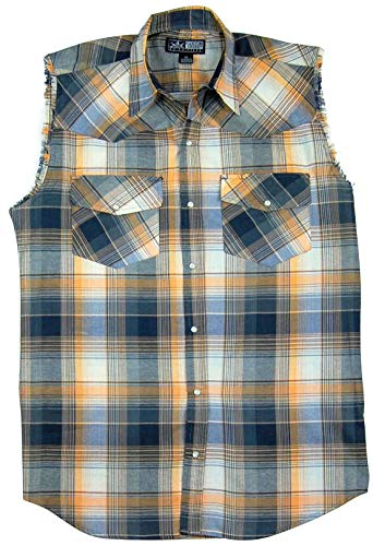 Men's Sleeveless Plaid Country Boy Shirt | Pearl Snap Front (Medium, Orange (819))