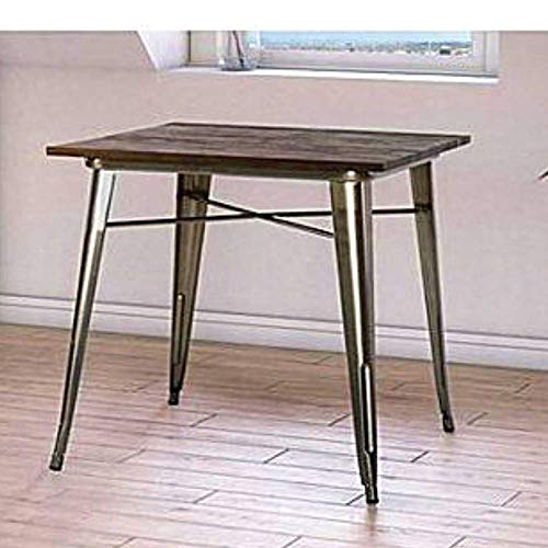 BS Dinette Table for Small Spaces Industrial Metal and Wood Square Rustic Kitchen Table 2 Person Dining Table Multipurpose Vintage Modern Heavy Duty Breakfast Table Bistro Silver & eBook by BADA Shop