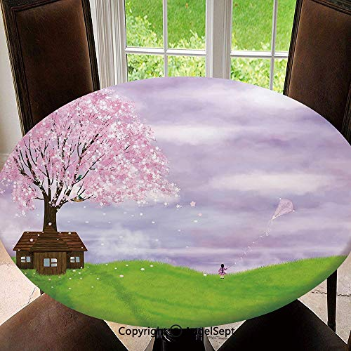 Modern Washable Round Elastic Edged Tablecloths for Round Table,Single House by Blooming Spring Tree and Little Girl with Kite Idyllic picture Indoor/Outdoor Spillproof Diameter 47 Inches,Lime Green