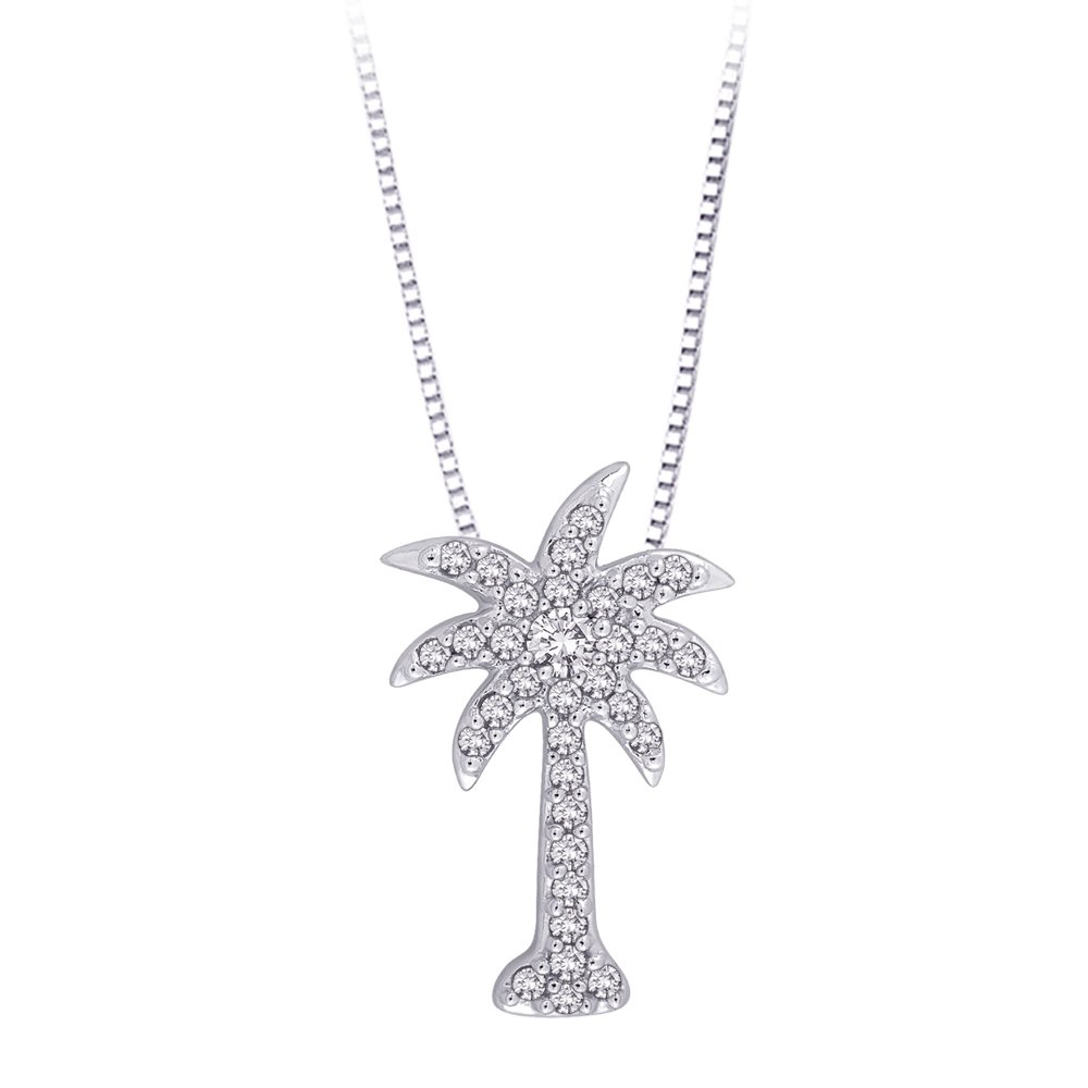 Diamond ''Palm Tree'' Pendant Necklace in Sterling Silver (1/6 cttw)