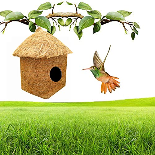 LIVEONCE Purely Handmade Safest Classic Hut Bird House with Easy Hanging Rings (Brown)