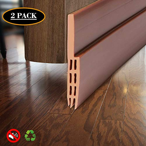 """BAINING Door Draft Stopper Sweep, Silicone Door Seal Strip, Under Door Noise Blocker, with 3M VHB Adhesive Backing, 2"""" W x 39"""" L, Brown 2 Pack"""