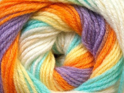393 Mint ((1) 100 Gram Baby Batik - Yellow, Orange, Lilac, Mint, Cream Self-Striping Yarn - Acrylic, 393 Yards)