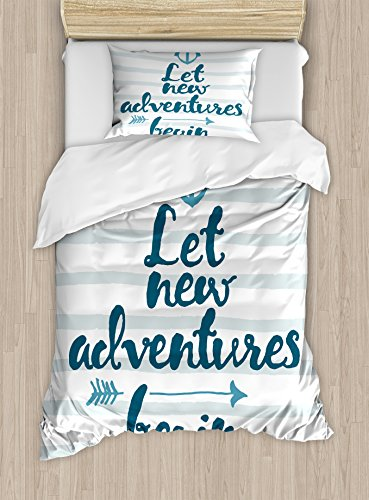 (Ambesonne Adventure Duvet Cover Set Twin Size, Nautical Stripes Anchor and Arrow Motivational Text Sea Travel Cruise, Decorative 2 Piece Bedding Set with 1 Pillow Sham, Night Blue Pale)