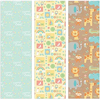Amazon Com Pack Of 3 Rolls Of Baby Shower Wrapping Paper 3