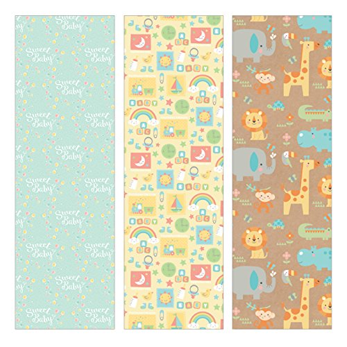 Pack of 3 Rolls of Baby Shower Wrapping Paper 3 Different Gift Wrap 8ft x 30in Rolls Included Newborn Baby Designs. -