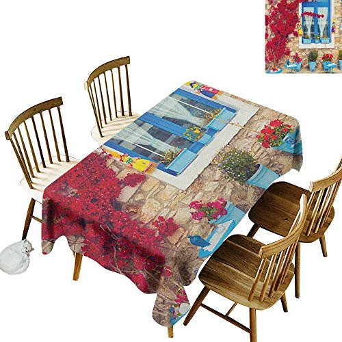 DONEECKL Coastal Easy to Clean Tablecloth Will not Fade Italian Design Mediterranean House with Greek Windows Print Pale Brown White and Navy Blue W54 xL72