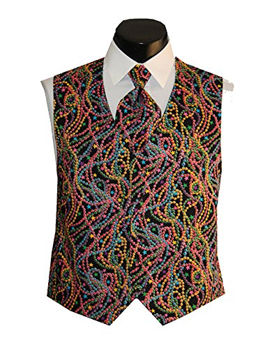 Mardi Gras Festive Beads Tuxedo Vest with Matching Long Tie