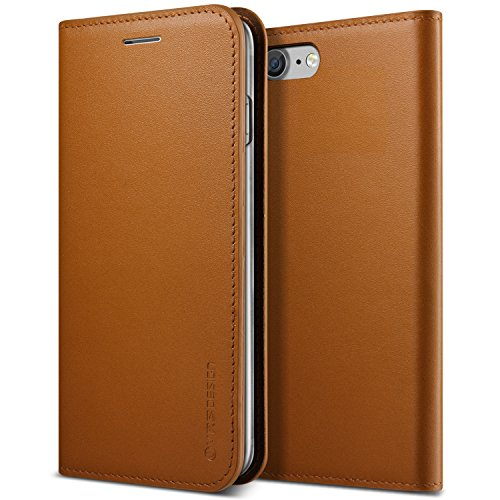 iPhone 7 Case, VRS Design [Genuine Leather Diary] Premium Genuine Leather Wallet with Card Slots (Brown) ()