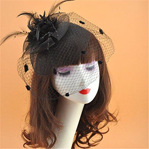 Vintage Cocktail Tea Party Headwear Flower Net Yarn Hats Fascinators Top Hat For Women Brides Hair Accessories (Black)