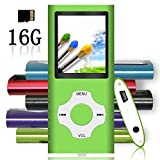 Tomameri - MP3 / MP4 Player with Rhombic Button, Including a 16 GB Micro SD Card and Maximum support 32GB, Compact Music & Video Player, Photo Viewer, Video and Voice Recorder Supported - Green