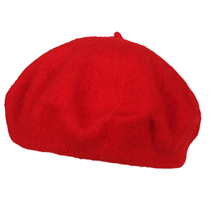 1d416af6ec686 Fansport Womens Beret Hat Wool Hat Fashion Solid Color Red Hat  Amazon.in   Clothing   Accessories