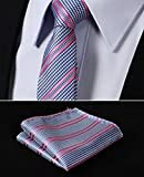 "Dan Smatree Pink Blue Houndstooth 2.17"" Silk Skinny Narrow Tie Necktie Pocket Square"