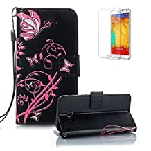 For Samsung Galaxy A5 Case (2017 Model), Funyye Classic Vintage Folio PU Leather Wallet Magnetic Flip Cover with [Wrist Strap] and [Butterfly Flower Pattern] Book Style Shockproof Bumper Cover for Samsung Galaxy A5 2017-Black