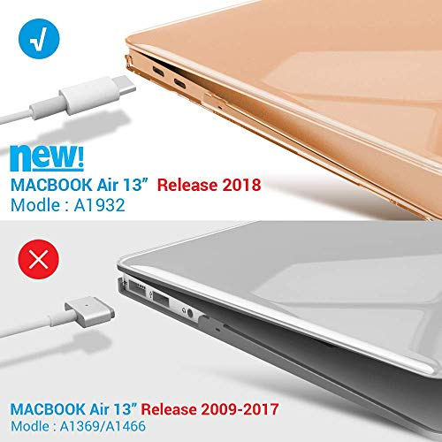 iBenzer MacBook Air 13 Inch Case 2018 Release New Version A1932, Soft Touch Hard Case Shell Cover for Apple MacBook Air 13 Retina with Touch ID, Crystal Clear, MMA-T13CYCL by IBENZER (Image #4)