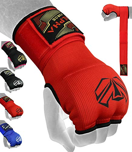 ALPHA FORCE Hand Wraps Inner Boxing Gloves Gel Mitts MMA Martial Arts MMA Fist Protector Bandages Mitts (Red, Small)