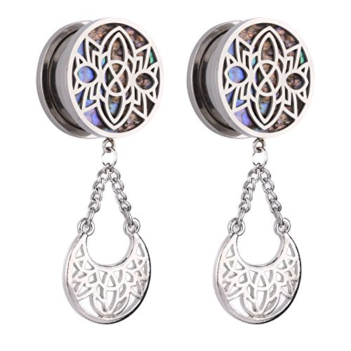 Gauge Jewelry (TOPBRIGHT Reamer Hollow Flower Surgical Steel Screw Ear Plugs Dangle Gauges Dilation Piercing Expander)