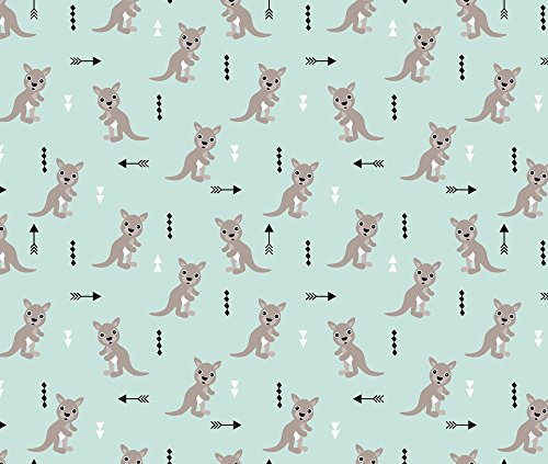 Geometrics Fabric - Hot Pastel Mint Adorable Geometric Kangaroo Illustration Australia Kids Pattern Design by littlesmilemakers - Printed on Minky Fabric by the Yard